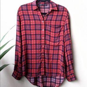 Zara Basics Red Plaid Button Down Shirt